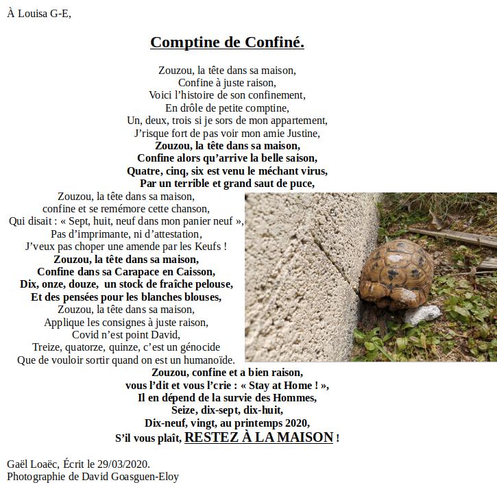 Comptine de Confiné 29032020